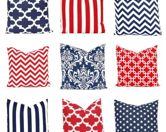 Red Pillow Covers - Decorative Pillow Covers - Red and White - Patriotic Decor - Navy Blue Pillow Covers - Red Navy Blue - Red Cushion
