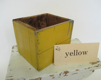 Vintage Yellow Wooden Box - Industrial Decor - Studio Decor