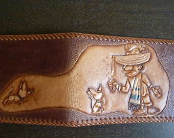 Vintage Hand Tooled Leather Bifold / Billfold Wallet - Mexican with Dogs Design