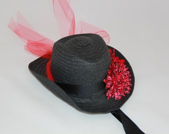 Girls Cowgirl Hat -  Black Hat - Black and Red Flower Bow - Girls Cowboy Hat - Western Girls Hat - Party Favor - Girls - Style CB1608