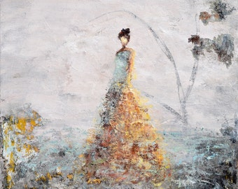 Figurative Painting Large Abstract painting Woman Painting landscape turquoise rust  In This Dream 24x20   Swalla Studio