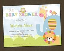 SALE Jungle Animals Baby Shower Invitation, Lion, Elephant, Giraffe, Turtle, Owl