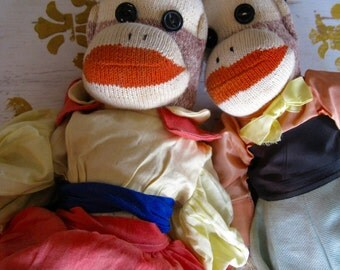 2 Vintage French Peasant Sock Monkey Dolls  22 and 17 inches Doll Clothes Handmade