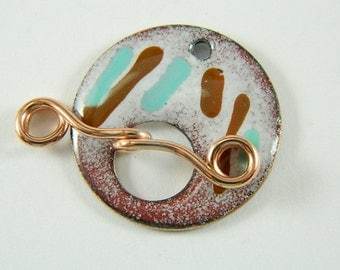 Turquoise and Brown Enameled Toggle Clasp with Copper Wire Toggle Bar