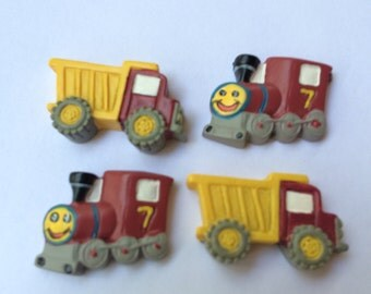 Trucks and Trains Magnets / Set of Four Boy Theme Magnets / Kids Magnets / Boy Theme Birthday Party