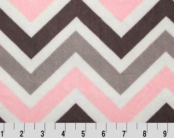 Minky Sale fabric-Shannon Fabrics Cuddle Print-Zig Zag-Pink,Silver and Gray  Chevron