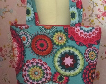 Beach bag tote summer bag shopping bag turquoise pink blue green red