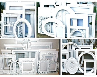Custom Set of 13 Shabby Chic Bright White Picture Frames for Gallery Wall, Wedding Decor, Nursery Decor