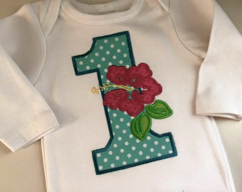 Luau Huge Appliqué Birthday Number Embroidered  Shirt or Onesie