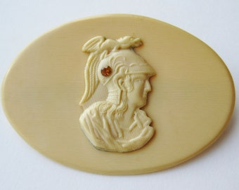 Vintage French Ivory Celluloid Athena Cameo Brooch Pin