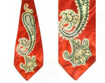 1940s Men's Tie - 40s Wide Swing Era Necktie - Huge Paisley Print Copper Brown Swirls Satin - Country Club Originals Label - 45600