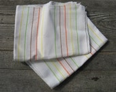 1970s cotton dish towels 70s tea towels set of two multi color striped large size never used