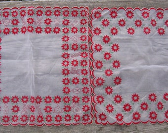 flocked Christmas hankies handkerchiefs pair chiffon hankies 13 inches square mid century fashion