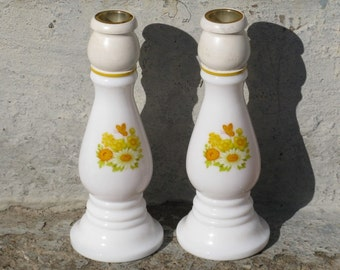 vintage avon buttercup candlesticks milk glass candlestick pair sonnet perfume spring summer cottage decor