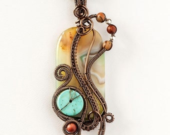 OOAK Freeform agate and turquoise wrapped pendant
