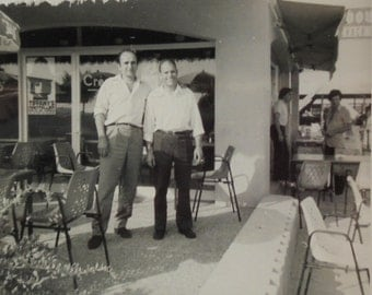 1970's Photo - Two Men Stood Outside a Café Bar in Montpellier