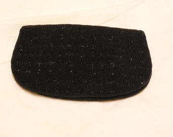 vintage Black beaded fold over Hand Made in France evening bag clutch