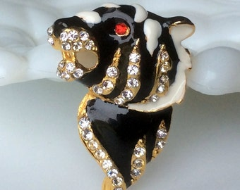 Carneige Style Enamel and Rhinestone Tiger Brooch