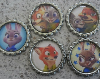 5 x Zootopia Inspired Flattened Silver Bottle Caps - Great for Jewellery, Cards, Keyrings