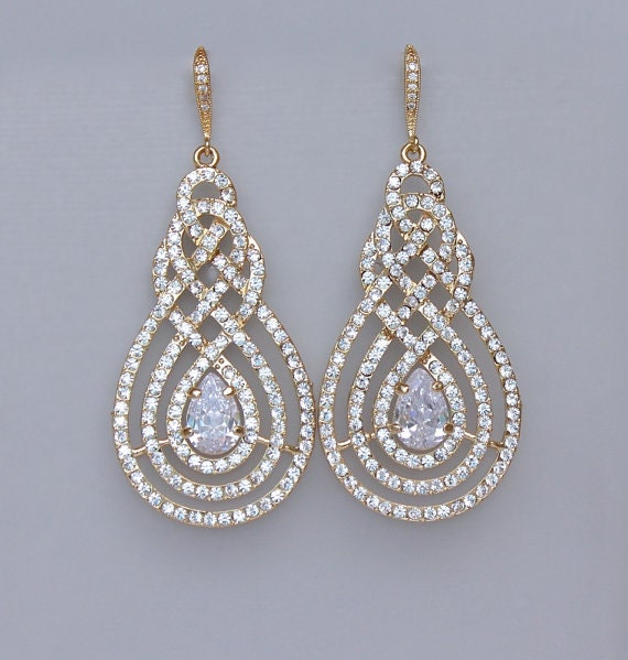Gold Chandelier Earrings Gold Pav 232 Earrings Crystal Bridal