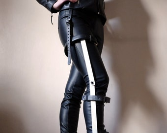 Leg Brace made from Steel with Real Leather Straps - mad max - apocalypse - fury road - wasteland - please read description for sizes