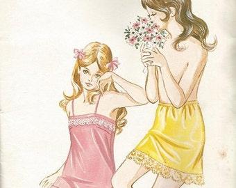 Vintage KWIK SEW #239 Girls Chemise Slip and Half Slip Pattern Ages 8-12