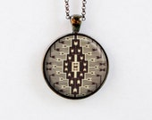 Navajo Rug Design Pendant Necklace - Southwest Pattern Jewelry - Brown Tan Black - 3