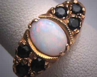 Antique Australian Opal sapphire Ring Wedding Vintage Victorian Art Deco c.1900