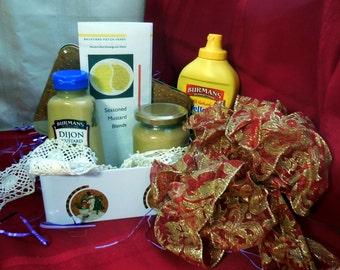 Gift Set / Basket of Mustards and Seasonings, gluten free, hostess gift, mustard, herb seasoning