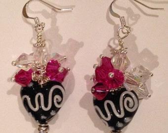 Black Heart with White Scrolls swirls earrings