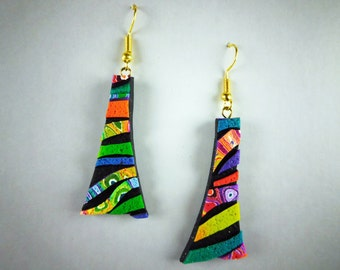 Rainbow Crazy Stripe Earrings in Black and Rainbow Polymer Clay