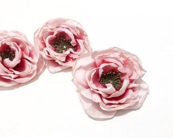 3 Small Dry Look Peonies in Pink - Artificial Flowers, Silk Flowers, Flower Crown