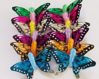 Feather Butterflies -12 Tiny Swallowtail Butterfly Embellishments in Various Colors - Artificial Butterflies