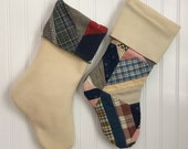 Couples Christmas Stockings Set Vintage Patchwork Quilt and Cream Wool Country Farmhouse