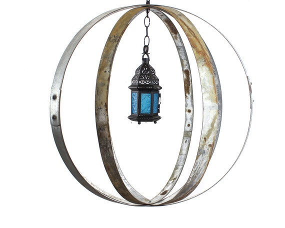 "RING ART - ""Kalabaza"" - Wine Barrel Ring Garden Art Globes - 100% recycled"