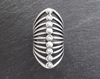 Hayal Silver Ethnic Tribal Boho Geometric Statement Ring - Authentic Turkish Style