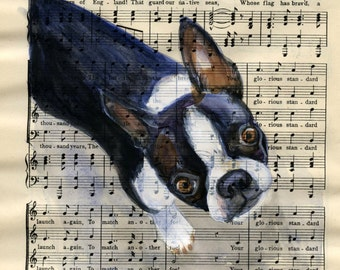 "Boston Terrier - Original watercolor,  on antique book page - The Scottish Student Song Book 10"" x 7"""