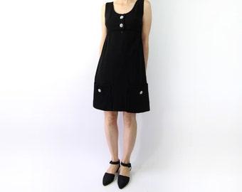 VINTAGE 1950s Rhinestone Pocket Dress Black Short