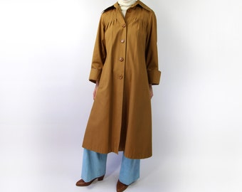 VINTAGE Raincoat 1970s Swing Coat Brown Jacket