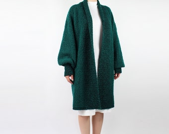 VINTAGE Slouchy Cardigan Long Open Sweater Green