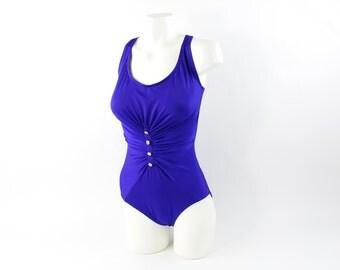 VINTAGE Blue Swimsuit Onepiece Bathingsuit 1980s Bill Blass