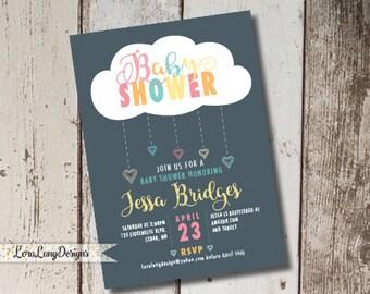 Cloud Baby Shower Invitation, Rain Shower Invitation, Baby Love Invitation, Raindrop Invitation, Gender Neutral Invitation, Printable Invite