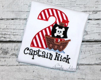 Boy's Pirate Birthday Shirt , Pirate Ship Birthday, Pirate Party,  Available in ages 1-9