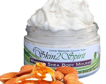 HONEY ALMOND Shea Body Butter / Mousse - Organic - Truly All Natural - Whipped - No Synthetic Fragrances - No Toxins