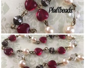 Valentine Vintage Style Red glass HEARTS pearls and clear crystal beads