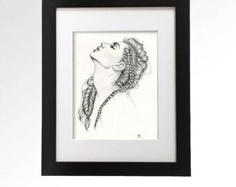 Original artwork. Graphite portrait drawing on paper, 8 x 10