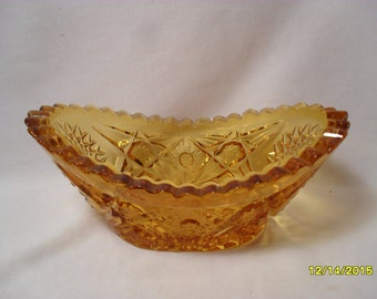 Mid Century Amber Sunburst Pattern Pressed Glass Boat or Banana Bowl
