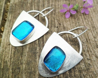 Dichroic Glass Earrings. Fused Glass Earrings. Sterling Silver Earrings. Dangle Earrings. Dichroic Earrings. Handmade Earrings.