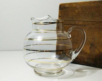 Large vintage gold striped glass pitcher / Mid century drinkware / barware / ball pitcher