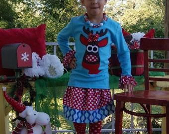 Moose Skirt Set ... Infant Toddler Youth Girl Sizes - 3M 6M 12M 18M 24M 2T 3T 4T 5T 6 7 8 9 10 12